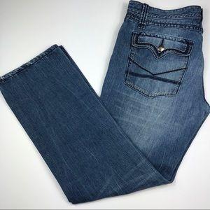 Black Blue Denim Distressed Jeans Mens Size 36/32
